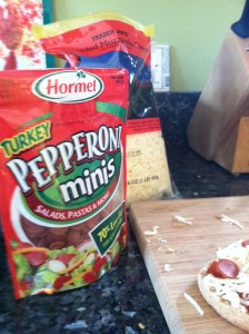 Easy English Muffin Pizza - Hormel Turkey pepperoni minis