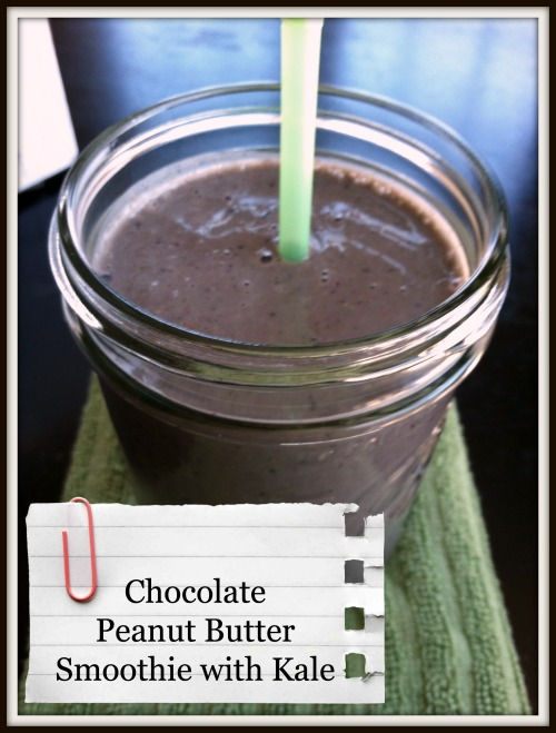 Chocolate Peanut Butter Smoothie with Kale