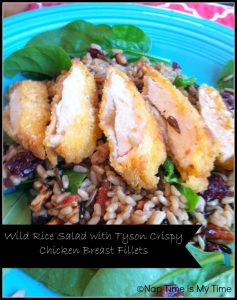 Wild Rice Salad with Tyson Crispy Breast Fillets and Lipton Iced Tea with peaches