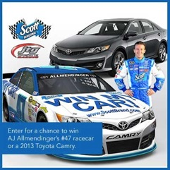 Sign up for the Scott #SharedValues program for a chance to win a new car and enter to win a gift card in the #ScottWinMyCar giveaway