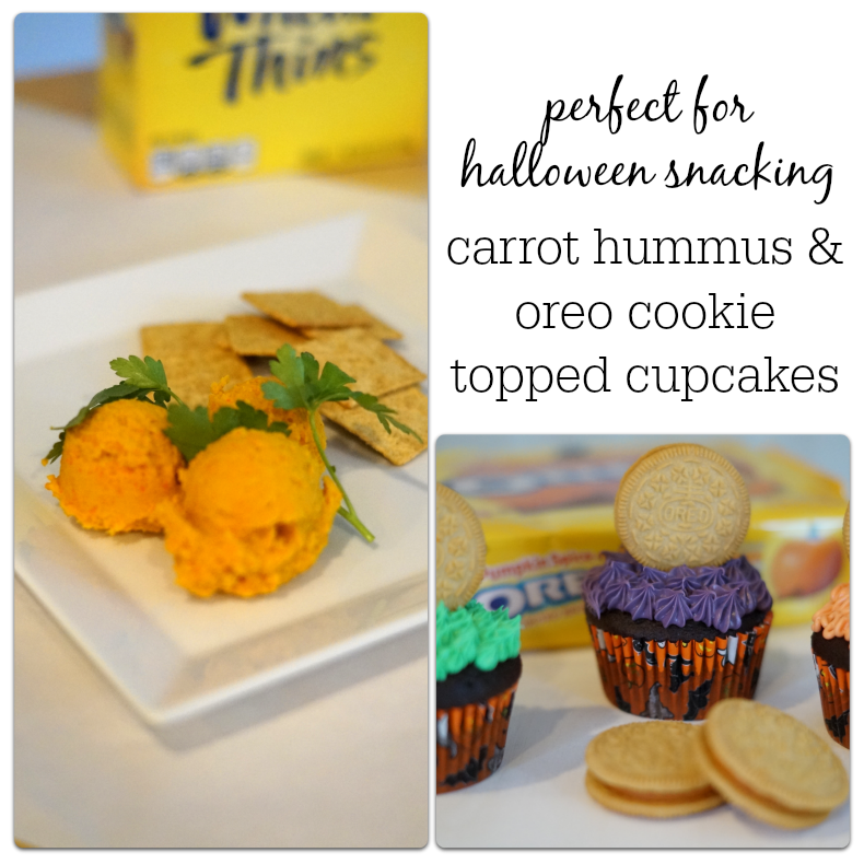 Halloween Snacking Made Easy: Carrot Hummus paired with Wheat Thins and Oreo Topped Cupcakes. #SpookySnacks #shop