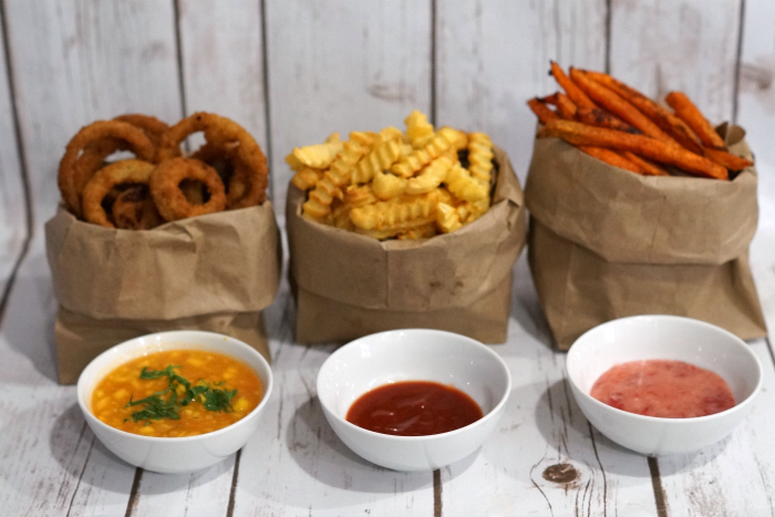 These three dipping sauces are perfect to serve with onion rings, crinkle cut fries, and sweet potato fries. Perfect game day snacks. #GameTimeGrub #ad