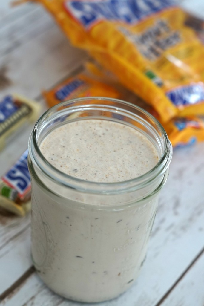 Looking for the perfect cure to being HANGRY? Make this Snickers Peanut Butter Milkshake and you'll be satisfied in no time! #WhenImHungry #ad