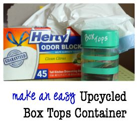 Get ready for back to school with bonus box tops from Hefty and an upcycled box tops container to keep them organized. #Hefty4BoxTops ad