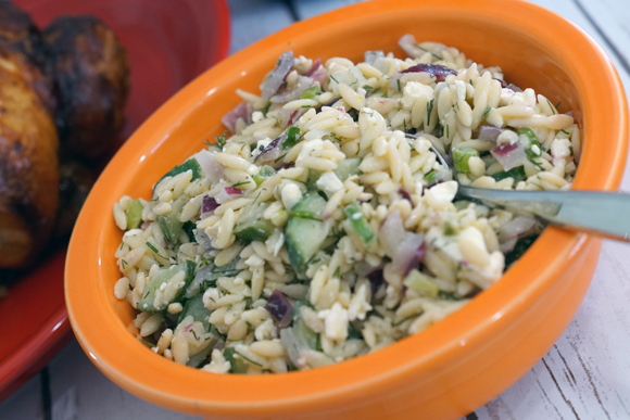Looking for an #EffortlessMeal idea - pair this delicious orzo salad with fully cooked rotisserie chicken #ad