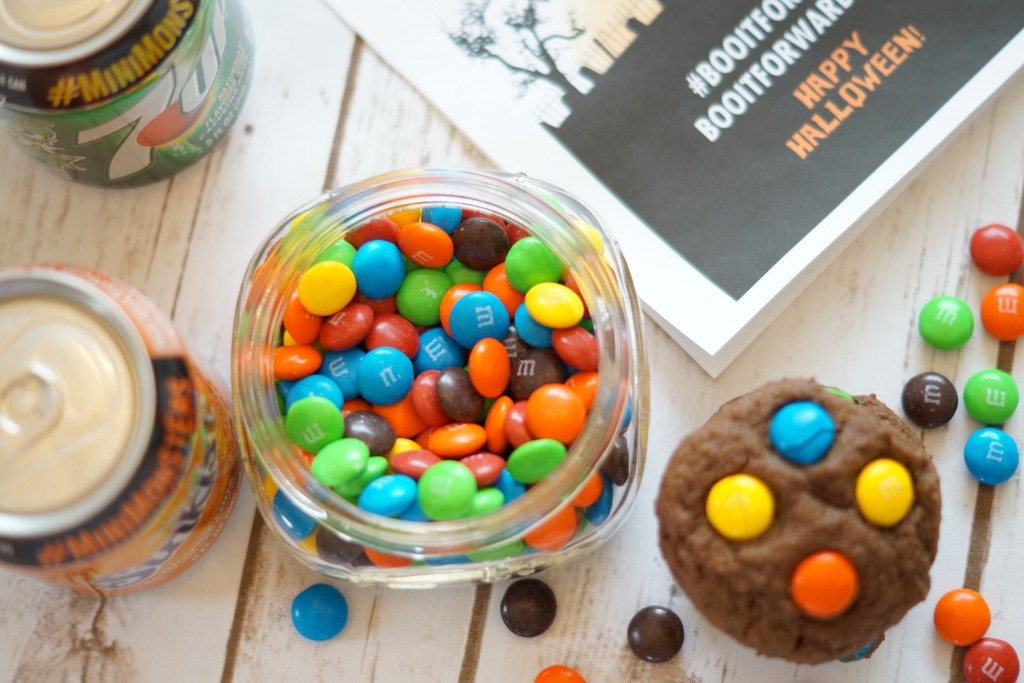 Simple double chocolate cookies with Halloween candy recipe is a hit this season! #BooItForward AD
