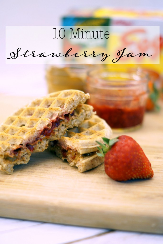 For the perfect breakfast, toast two waffles and top with your favorite nut butter and this quick strawberry jam #FueledForSchool AD