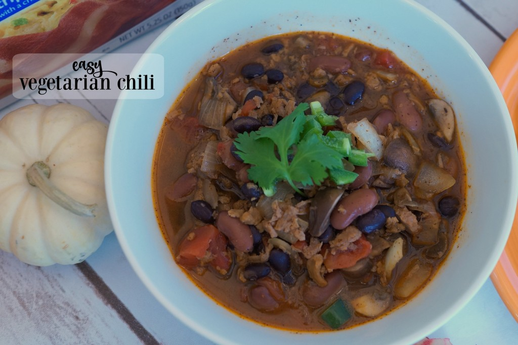 Homegating is a great way to feel like you're part of the action! Make this vegetarian chili recipe for #FallWithATwist and cheer your team from home! #ad
