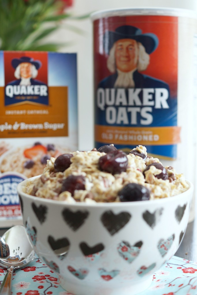 Recipe for delicious and easy chocolate cherry overnight oats. This make ahead breakfast recipe will have you wondering if you're eating dessert! #BringYourBestBowl AD