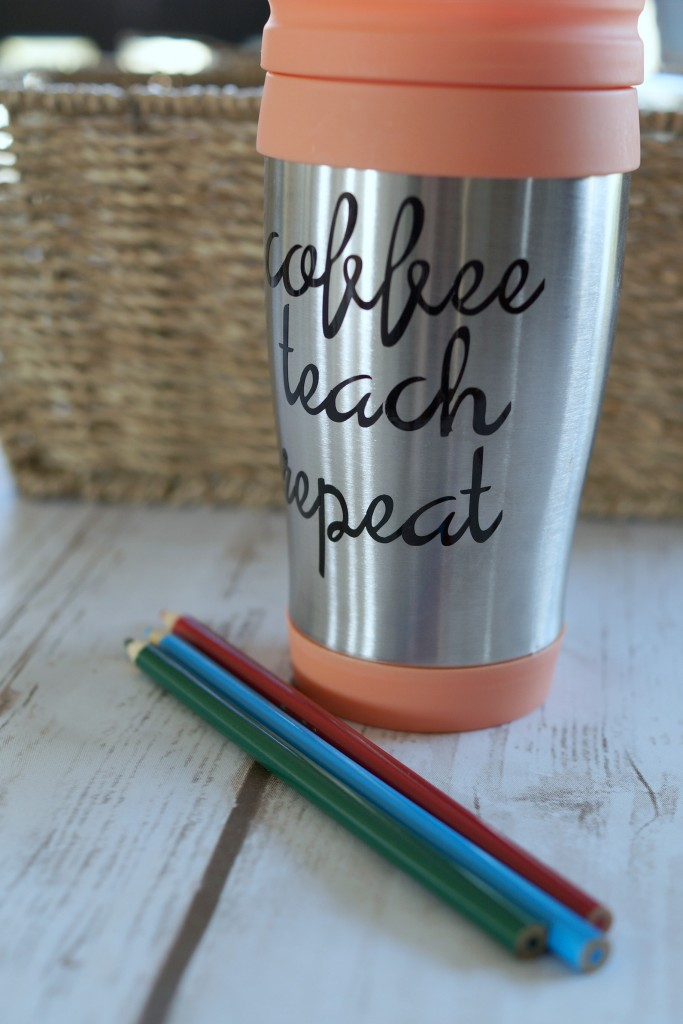 A personalized coffee mug is the perfect item to include in a coffee break basket for your favorite teachers. Click to get the tutorial! #SipIndulgence AD