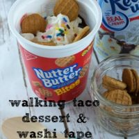 Learn how to make a simple walking taco dessert and follow this simple washi tape spoons tutorial to #SnackAndGo anywhere! AD