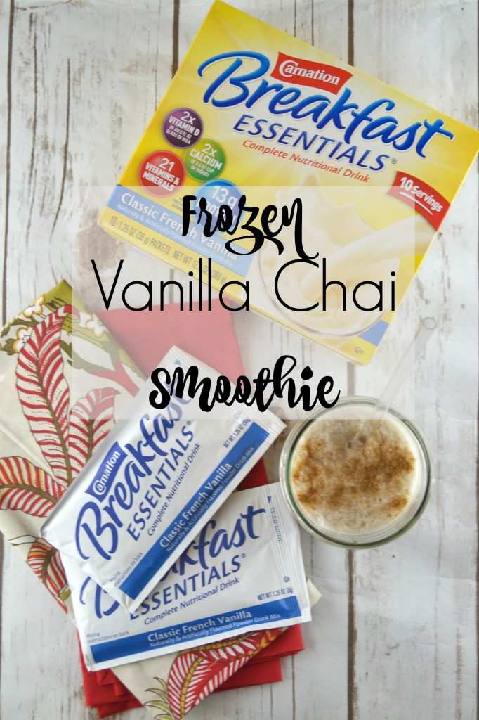 Find out how you can have a delicious breakfast with this great tasting Frozen Vanilla Chai Smoothie #CarnationBreakfastEssentials ad