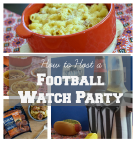 Simple and easy tips on how to host a football watch party this football season! Be sure to check out the Sausage Mac and Cheese recipe! #KayemKickoff Ad