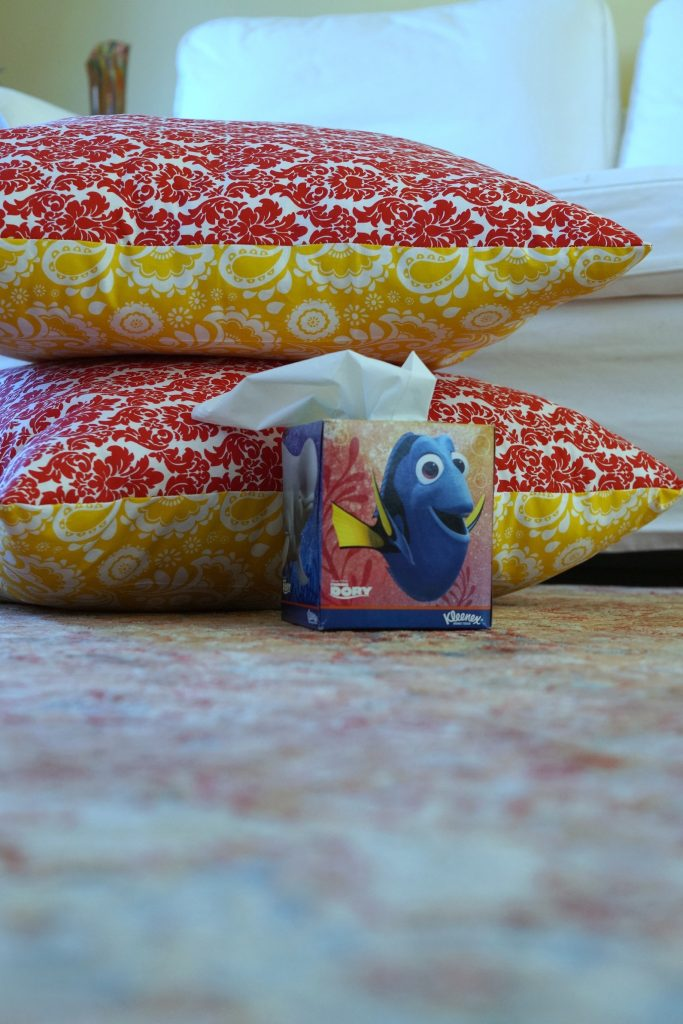 You can make your own giant floor pillow by following this easy floor pillow tutorial then watch a #FamilyMovieWithKleenex in comfort! #ad