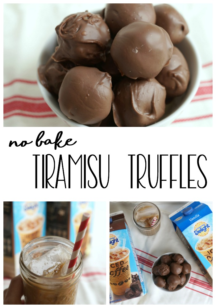 Creamy, two-bite no bake tiramisu truffles are packed with delicious coffee flavor. Enjoy these delicious treats any time! #FoundMyDelight AD