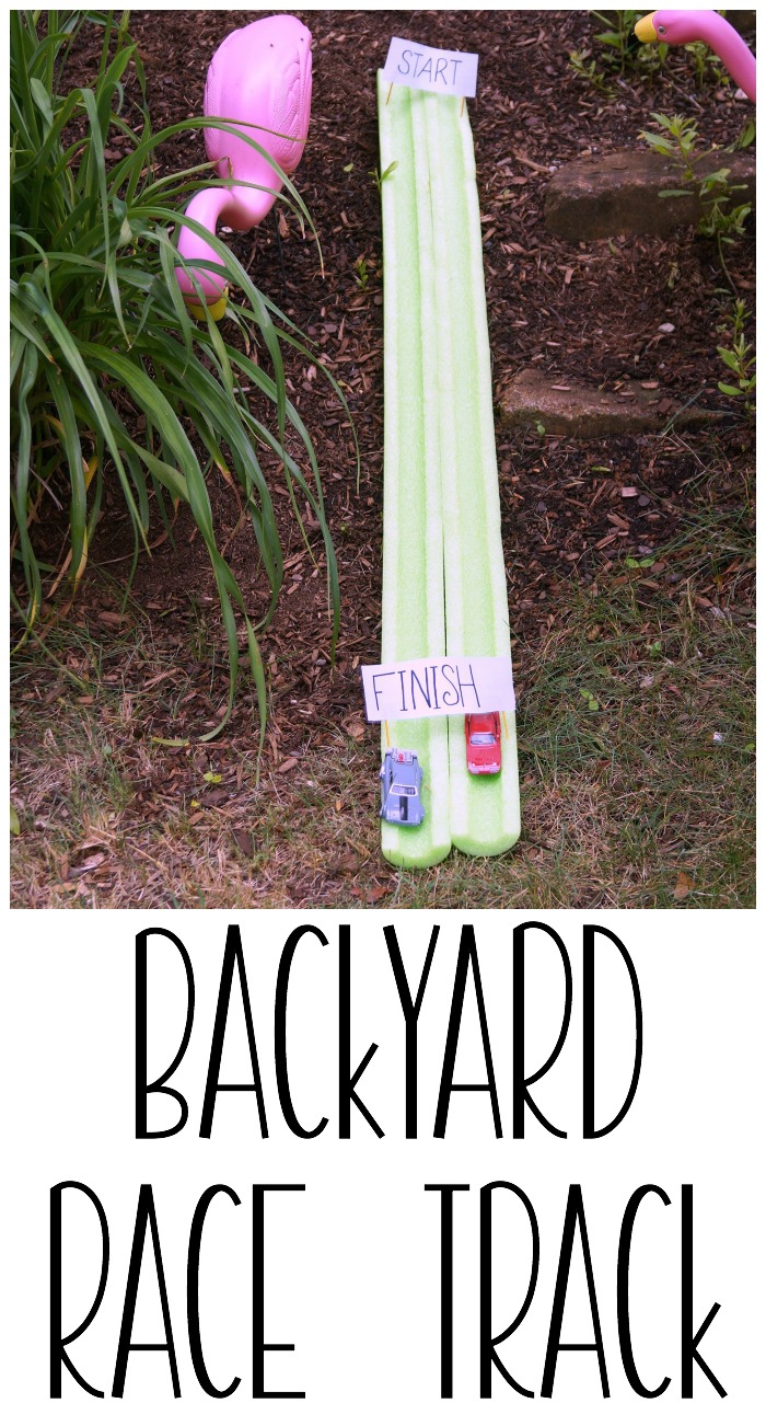 Have fun in your backyard this summer with this backyard race track with pool noodles. A backyard race track is perfect for racing diecast vehicles. #RevUpF8 AD
